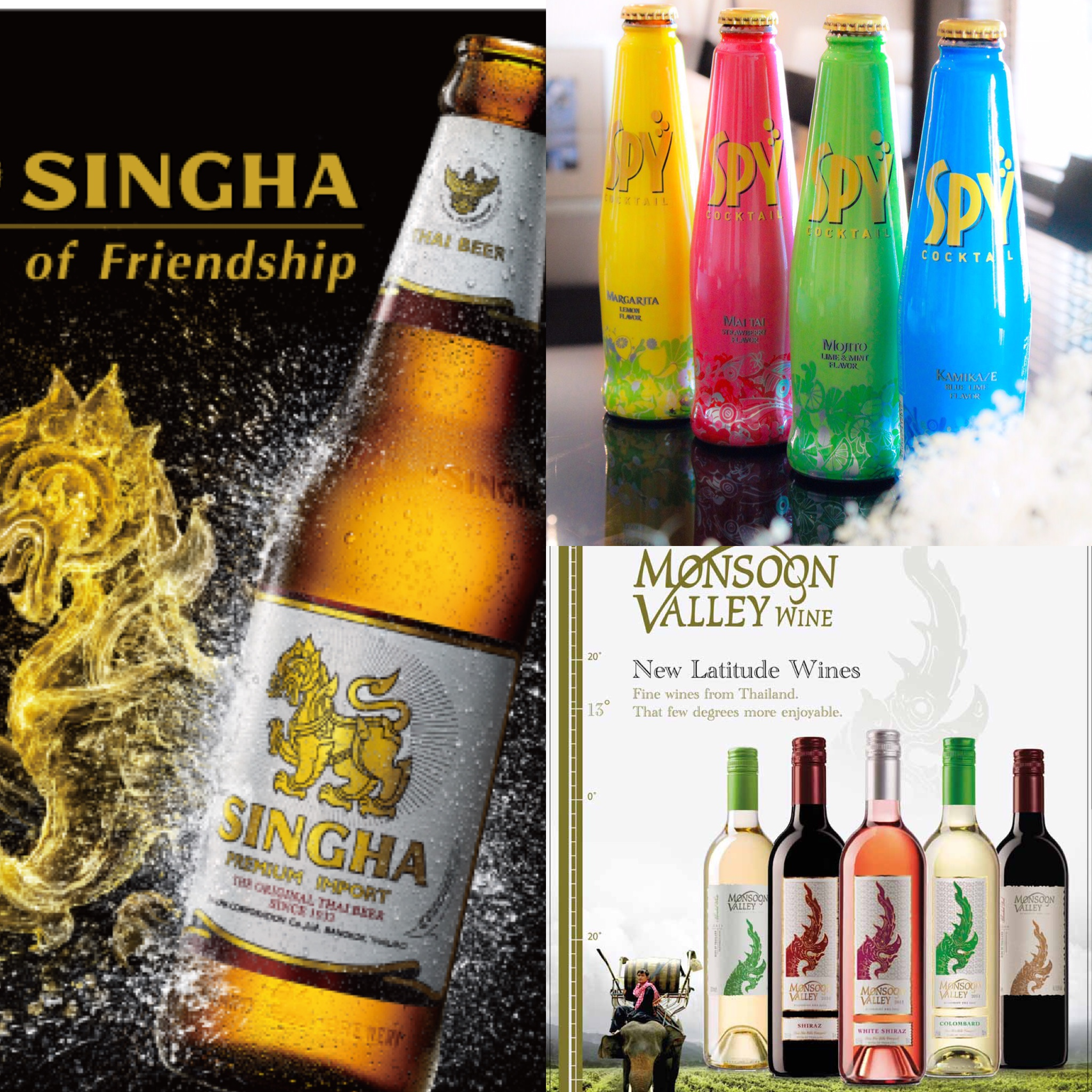 「シンハービール」「スパイ」「モンスーンバレーワイン」の3ブランドが、 オフィシャルサポーターに就任!